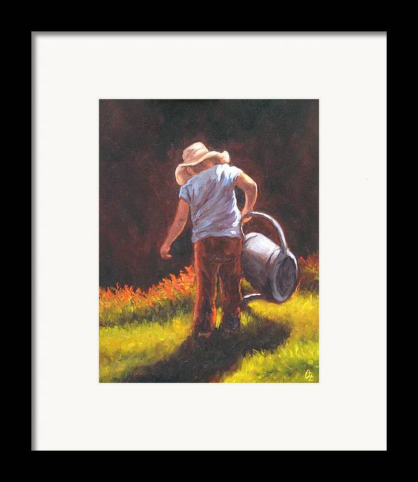 Kids Framed Print featuring the painting Heavy Watering Can... by Oksana Zotkina