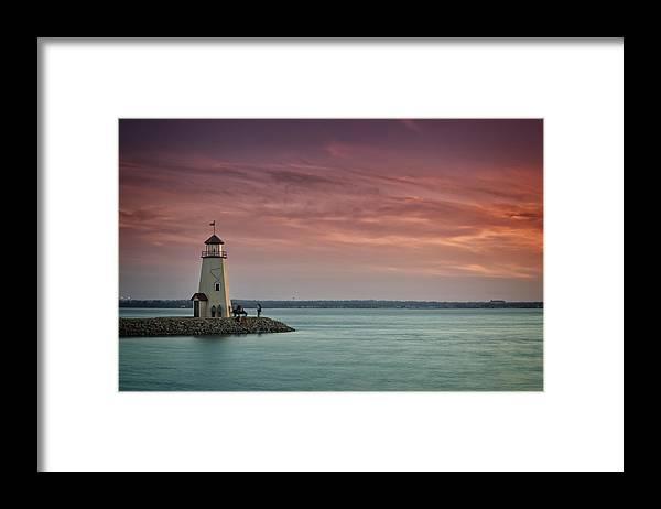Lighthouse Framed Print featuring the photograph Hefner Sunset II by Ricky Barnard