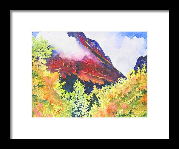 Mountain Framed Print featuring the painting Heights of Glacier Park by Karen Stark