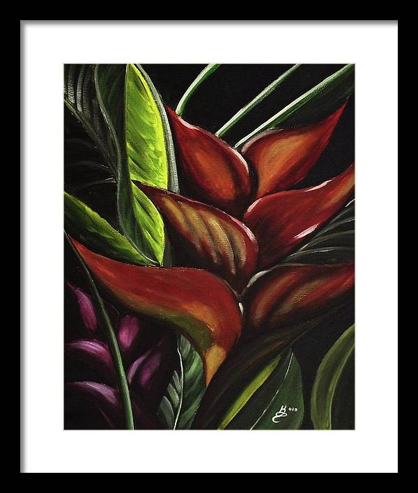 Acrylic Framed Print featuring the painting Heliconia Flower by Kim Selig