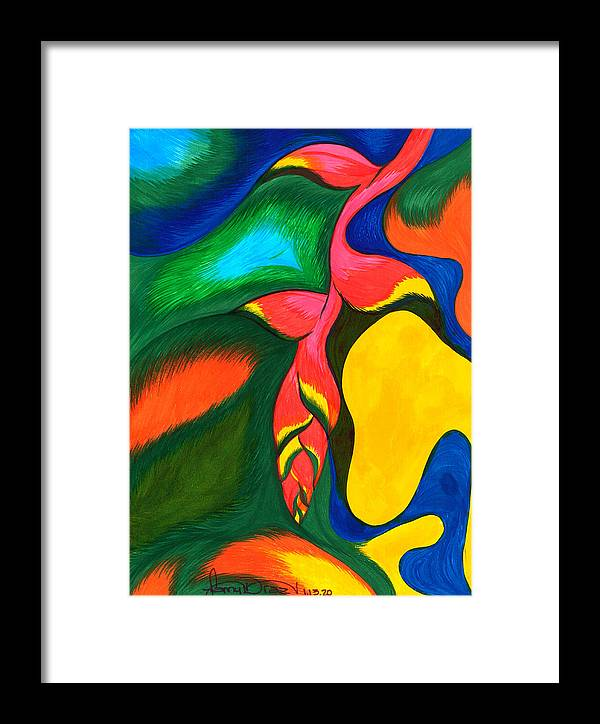 Tropical Flower Framed Print featuring the painting Heliconia Rostrata by Fanny Diaz