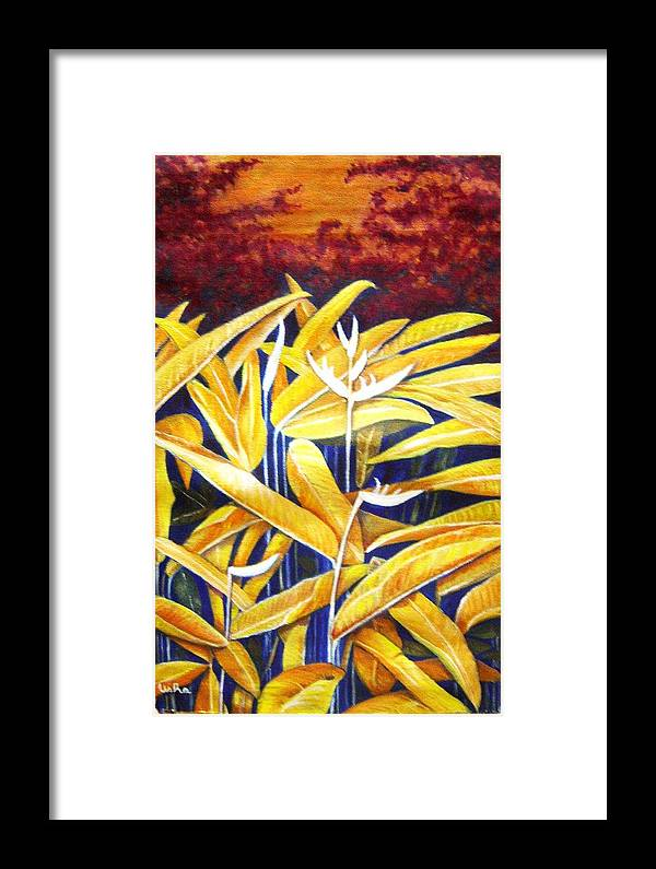 Heliconia Framed Print featuring the painting Heliconia by Usha Shantharam
