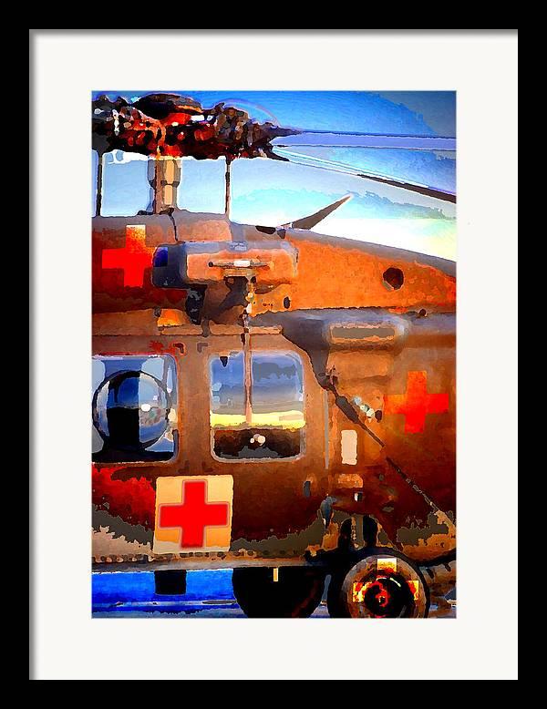 Framed Print featuring the digital art Helicopter by Danielle Stephenson
