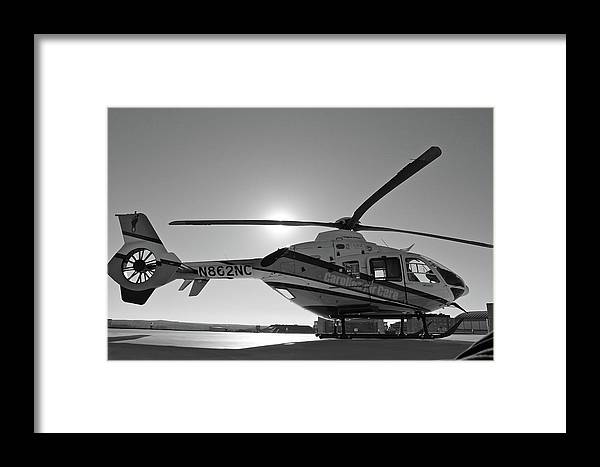 Helicopter Framed Print featuring the digital art Helicopter by Dorothy Binder