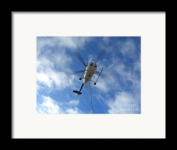 Helicopter Framed Print featuring the photograph Helicopter Hover by Jim Thomson