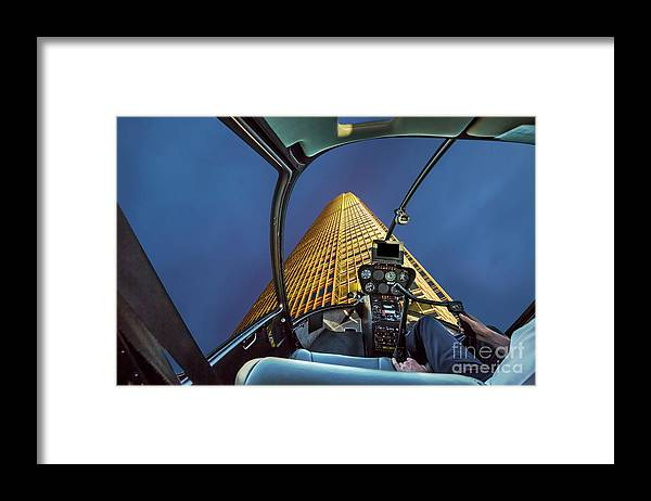 Hong Kong Framed Print featuring the photograph Helicopter On Skyscaper Facade by Benny Marty