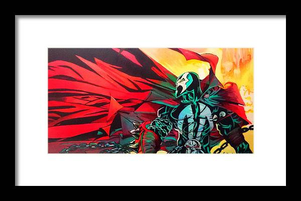 Spawn Framed Print featuring the painting Hell Of A Day by Jason Majiq Holmes