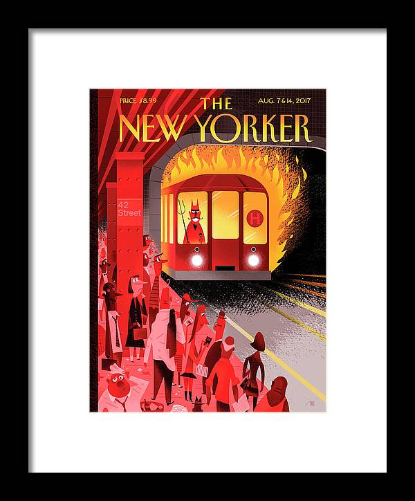 Hell Train Framed Print featuring the drawing Hell Train by Bob Staake