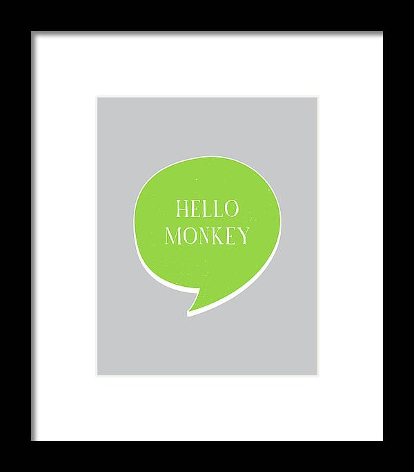 Hello Framed Print featuring the digital art Hello Monkey by Samuel Whitton