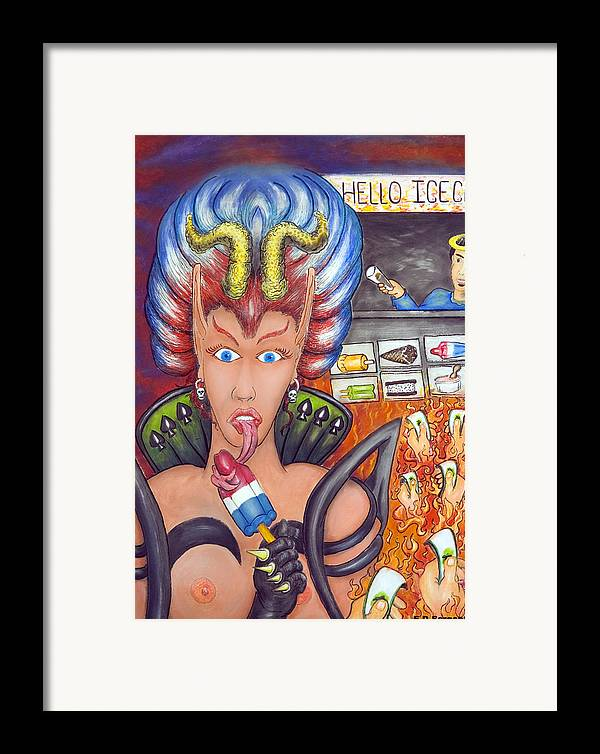 Devilish Framed Print featuring the painting Hello Ice Cream by Eddie Sargent