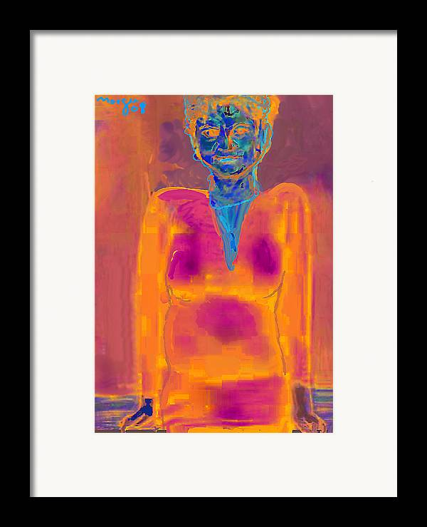 Portrait Framed Print featuring the painting Helloo by Noredin Morgan