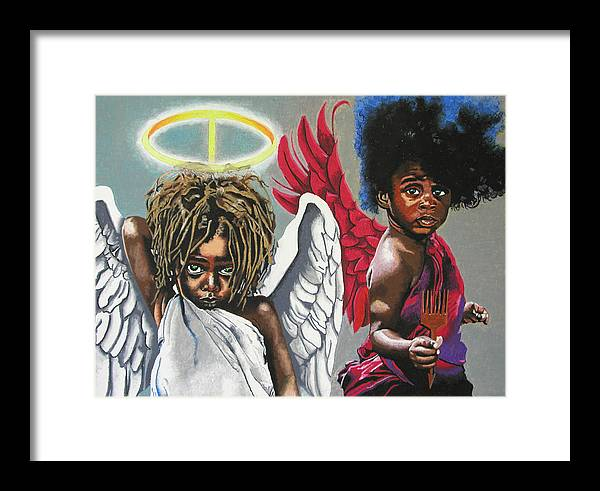 Black Art Framed Print featuring the painting Hells Little Angels by Andre Ajibade