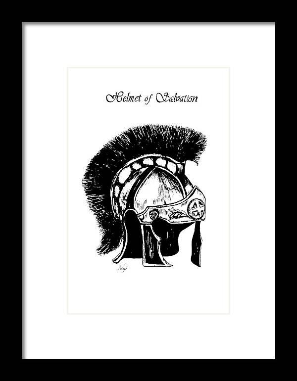 Helmet Framed Print featuring the drawing Helmet Of Salvation by Maryn Crawford