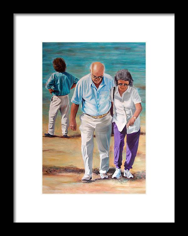 Beach Framed Print featuring the painting Helping Hand by Fiona Jack