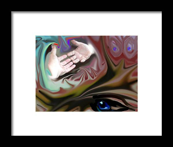 Hands Framed Print featuring the digital art Helping Hands Abstract by Cathy Kaiser