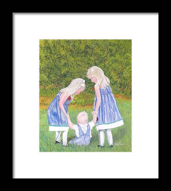 Children Framed Print featuring the pastel Helping Hands by Lisa Bell
