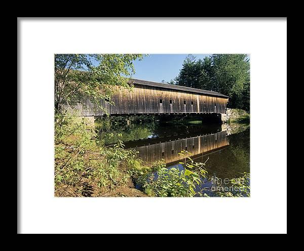 Covered Bridge Framed Print featuring the photograph Hemlock Covered Bridge - Fryeburg Maine Usa. by Erin Paul Donovan