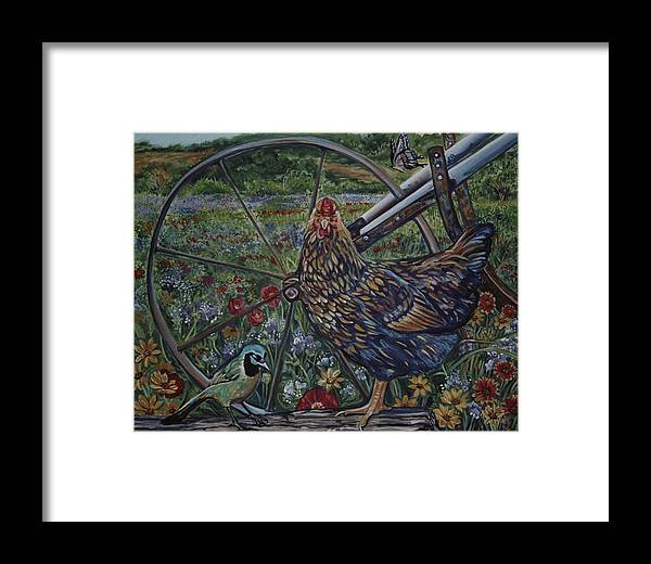 Animal Framed Print featuring the painting Hen And Plow Wheel by Diann Baggett