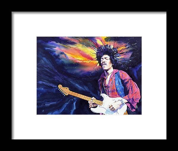 Jimi Hendrix Framed Print featuring the painting Hendrix by Ken Meyer jr