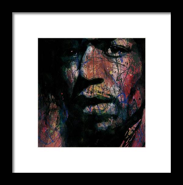 Jimi Hendrix Framed Print featuring the painting Hendrix Purple Haze by Paul Lovering