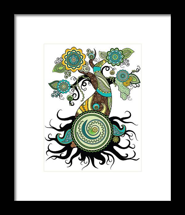 Henna Framed Print featuring the digital art Henna Tree Of Life by Serena King