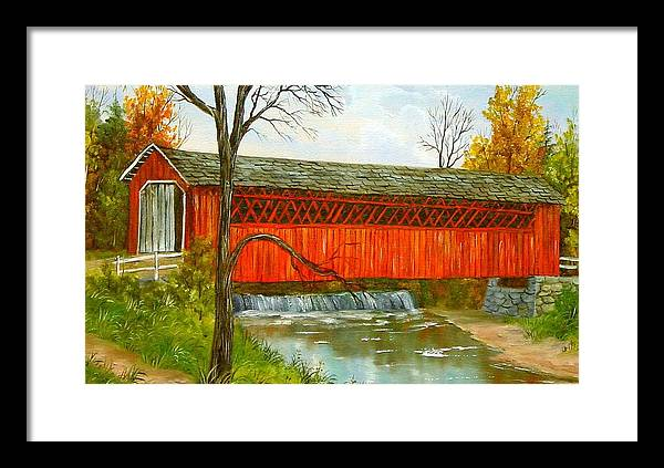 Painting Landscape Framed Print featuring the painting Henry Bridge Vt. by Marveta Foutch