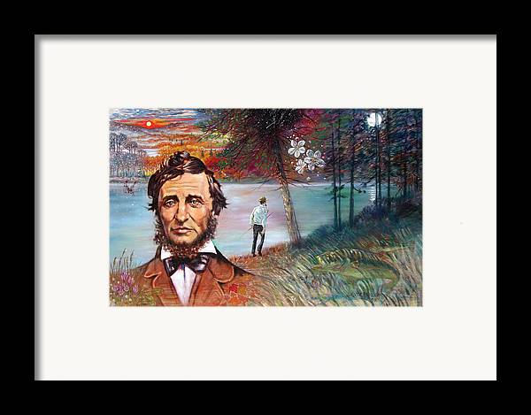 Henry David Thoreau Framed Print featuring the painting Henry David Thoreau by John Lautermilch
