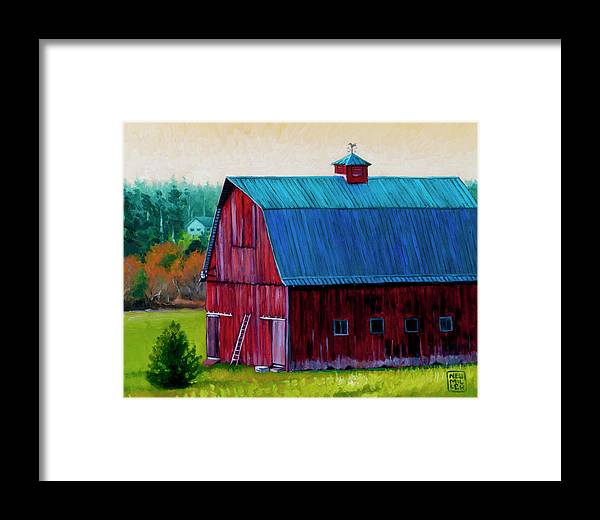 Barn Framed Print featuring the painting Henry Strong Barn Circa 1928 by Stacey Neumiller