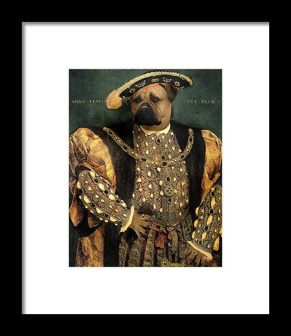 Mastiff Framed Print featuring the digital art Henry Viii As A Mastiff by Galen Hazelhofer