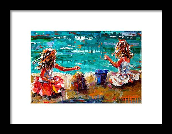 Seascape Framed Print featuring the painting Her Blue Bucket by Debra Hurd