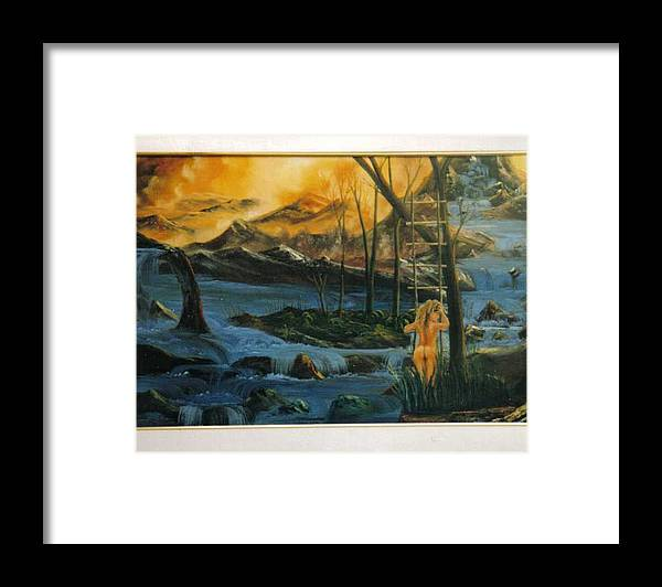 Nudes Framed Print featuring the painting Her Ladder by Benito Alonso