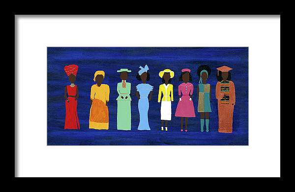 Black Framed Print featuring the painting Her Legacy II by Kafia Haile