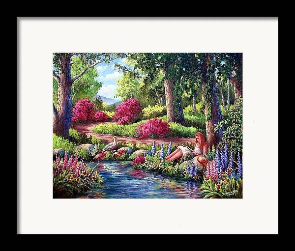 Read Framed Print featuring the painting Her Reading Hideaway by David G Paul