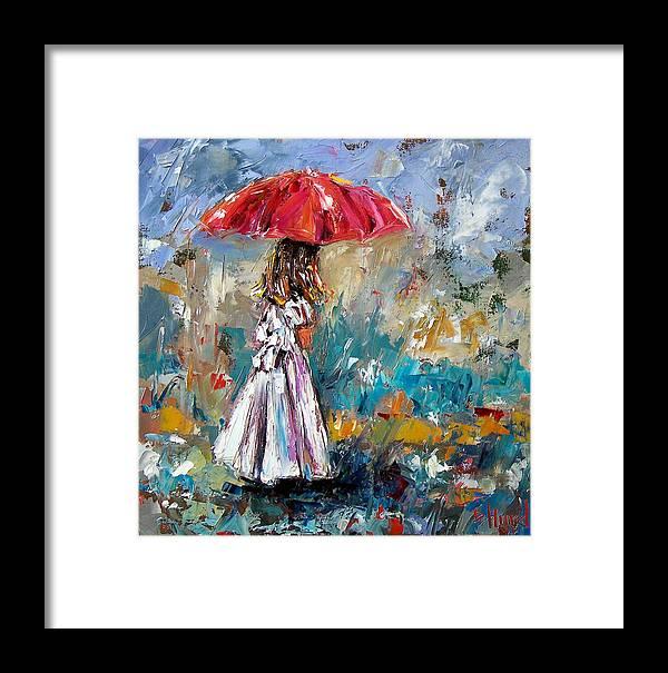 Children Art Framed Print featuring the painting Her White Dress by Debra Hurd
