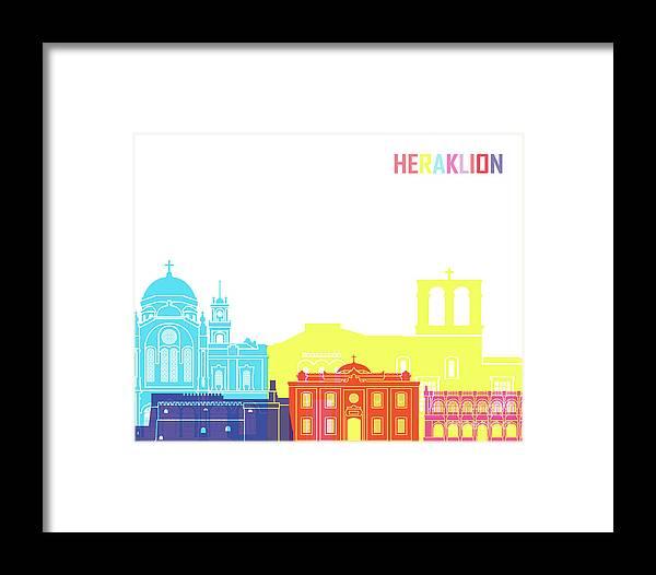 Heraklion Framed Print featuring the painting Heraklion Skyline Pop by Pablo Romero