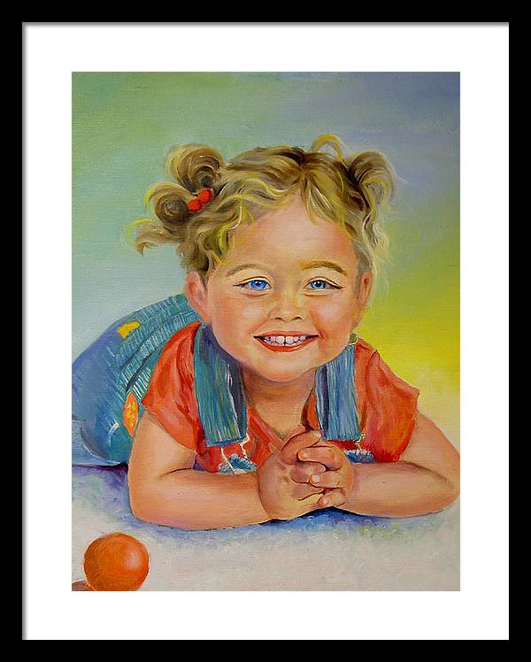 Portrait Framed Print featuring the print Herbs Grandaughter by George Markiewicz