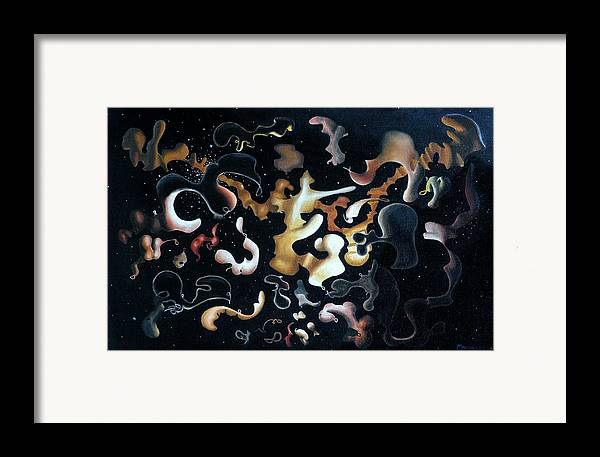 Abstract Framed Print featuring the painting Herculean Construction by Dave Martsolf