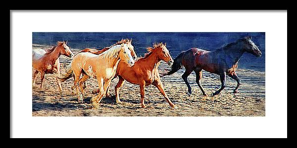 Horse Framed Print featuring the painting Herd Of Horses by Clarence Alford