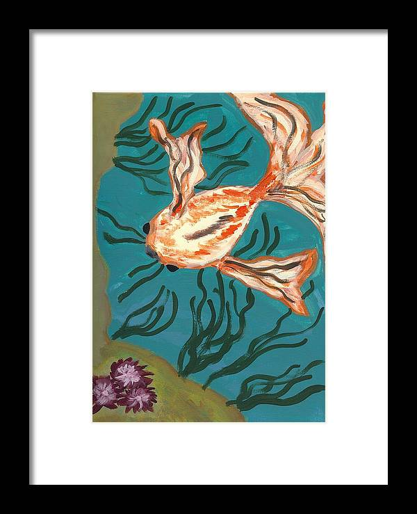 Fish Framed Print featuring the painting Here Fishy Fishy by Laura Lillo