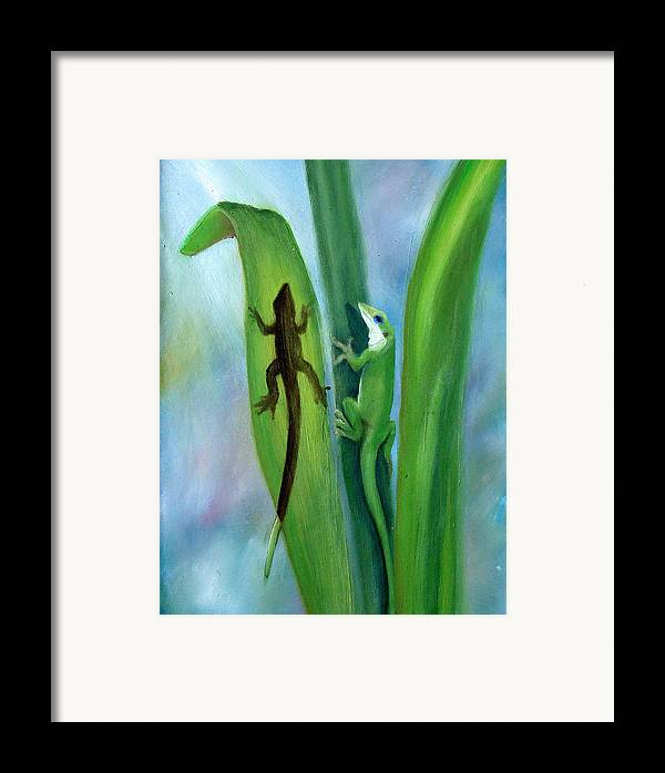 Geicko Framed Print featuring the painting Here Lizard Lizard by Darlene Green