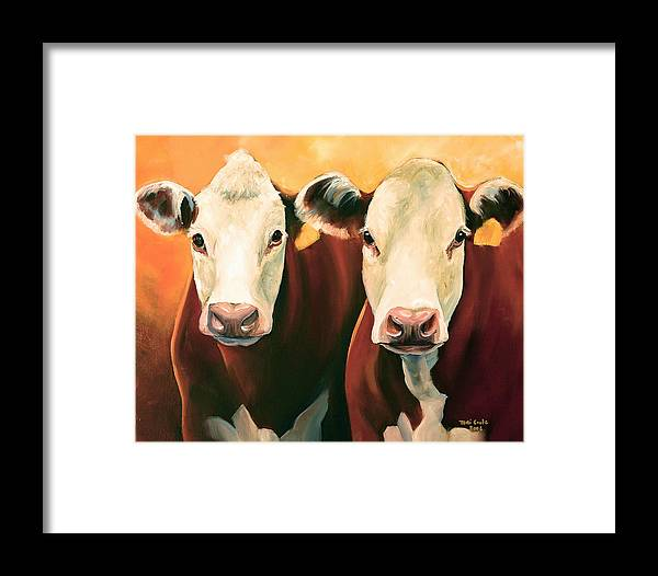 Cows Framed Print featuring the painting Herefords by Toni Grote