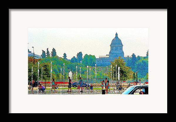 Park Framed Print featuring the photograph Heritage Park Fountain by Larry Keahey