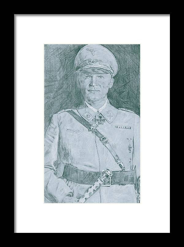 Reichsmarschall Herman Goring Framed Print featuring the drawing Herman Goring by Dennis Larson