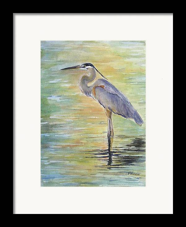 Great Blue Heron Framed Print featuring the painting Heron At The Lagoon by Patricia Pushaw