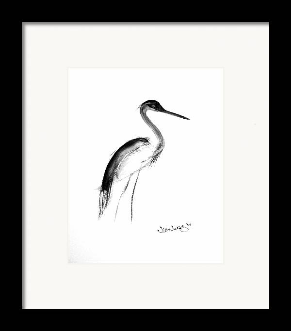 Sumi-e Framed Print featuring the painting Heron by Sibby S