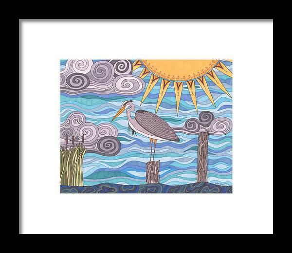 Heron Framed Print featuring the drawing Heron's Watch by Pamela Schiermeyer