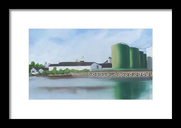 Industrial Landscape Painting Framed Print featuring the painting Hess Tanks from Costco by Ron Erickson