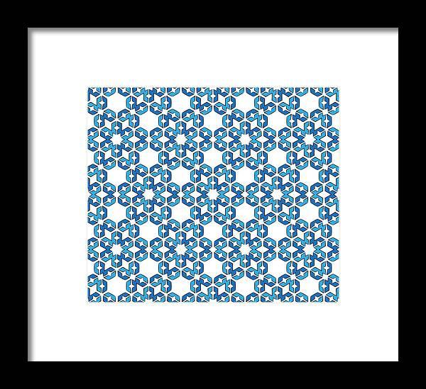 Snow Framed Print featuring the digital art Hexagonal Snowflake Pattern by Jozef Jankola