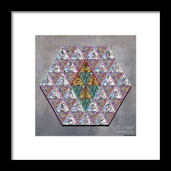 Conceptuals Framed Print featuring the digital art Hexagonia 3 by Walter Oliver Neal