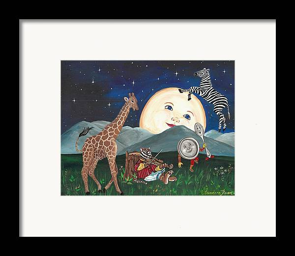Zebra Framed Print featuring the painting Hey Diddle Diddle by Sundara Fawn